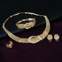 Women Bridal Wedding Party Prom Rhinestone Necklace Earrings Ring Jewelry Set FZ