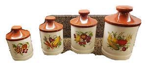 Vtg. Porcelain Canisters 60/70's Vegetables & Fruit Mark Rosenfeld Japan, Rare