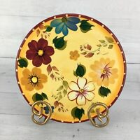 Oneida SUNSET BOUQUET Stoneware Multicolored Floral Red Green Gold Trivet Dish