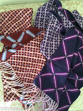 NWT Amicale 100% cashmere scarf women purple brown blue plaids 2-side patterns