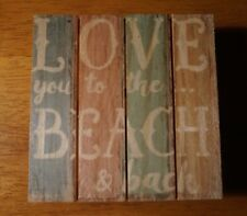 LOVE YOU TO THE BEACH & BACK Nautical Pastel Coaster Home Decor Mini Sign - NEW