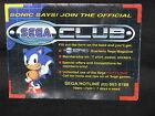 RARE SONIC THE HEDGEHOG Sega Club - Promo Poster Sega MASTER SYSTEM 2 (VGC)