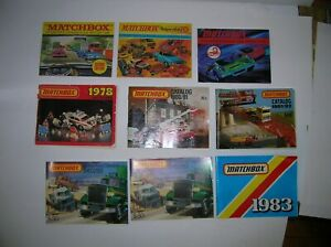 """MATCHBOX CATALOGS """" 9 PIECES STARTING 1969"""" SEE NOTES , LOT # 18744"""