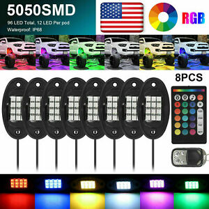 8pc RGB LED Rock Lights Kit Offroad Truck ATV UnderGlow Music Remote App Control
