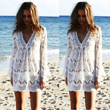 US Women Lace Crochet BathingSuit Bikini Swimwear Cover Up Beach Dress Sundress