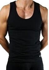 3 X PLAIN, BLACK MENS 100% COTTON VESTS.