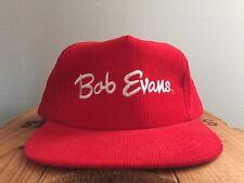 RED CORDUROY SNAP BACK BOB EVANS HAT Restaurant Cap Advertising Logo Type
