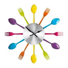 Kitchen Cutlery Wall Clock Multi-coloured Metal Stylish Design Brand New