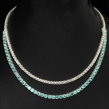 Sterling Silver Necklace Genuine Blue Apatite White Topaz 18 1/4 to 20 1/2 Inch