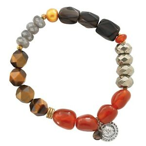 """SILPADA - B3167 - Agate Brass Pearl """"One in a Vermillion"""" Stretch Bracelet"""