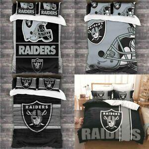 Las Vegas Raiders All Season 3PCS Duvet Quilt Cover Pillowcases Bedding Set US