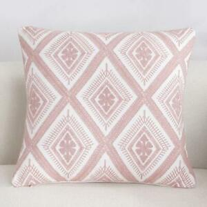 Diamond Pink White Square Scandinavian embroidery Indoor cushion cover 18'