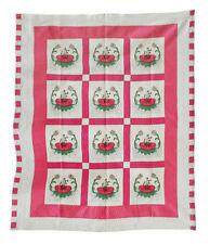 "Vintage Applique Hand Stitched Quilt, Water Lilies 1930's, 98"" X 82"""