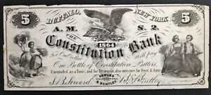 """1864 Seward & Bentley Constitution Bitters """"5"""" Buffalo NY Advertising Note"""