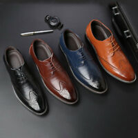 Men's Wedding Dress Formal Oxfords Shoes Leather Suit Lace up Brogue Wing Tip