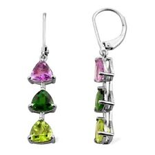 Natural Multi Tourmaline Trillion cut Journey Silver Earring White Gold over
