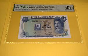 PMG Bermuda/ British Administration $1 Banknote 1970 p23a Gem UNC