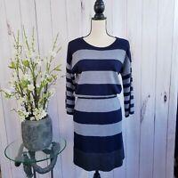 Loft Women's Size Small Wool Blend Navy/Gray Sweater Dress