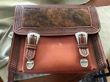 Leather hand tooled messenger bag