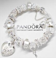 8ac835546 Authentic Pandora Silver Charm Bracelet White Love Story Heart & European  Beads.