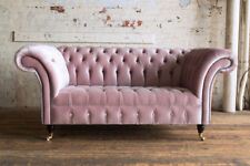 MODERN HANDMADE 2 SEATER DUSTY PINK VELVET CHESTERFIELD SOFA