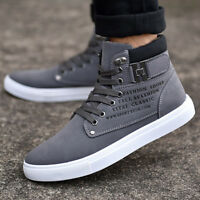 Mens Casual Sport Shoes Canvas Lace up High Top Sneakers Leather New Fashion