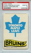 1973 TOPPS TEAM EMBLEM STICKER MAPLE LEAFS BRUINS PSA GEM MT 10