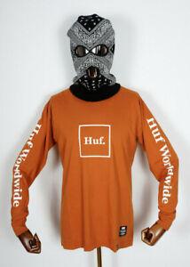 Huf Worldwide Skateboard Longsleeve Tee T-Shirt LS Domestic Rust in M