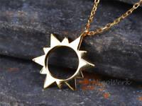 Silberkette mit Anhänger Sonne Schlicht Glatt Golden Halskette Damen 925 Silber