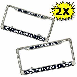 1959 Chevy Chevrolet GM License Front Rear Chrome Plate Holder Frames Pair V8 LS