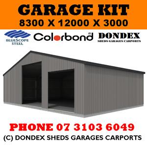 DONDEX SHEDS Large Garage Shed Kit 8x12x3.0 Colorbond Roof, Walls & Doors
