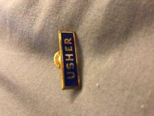 Vintage Usher Pinback Badge Pin Tie Clip kaag GF