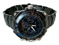 Mens Dress Watch Muniti MT1003G.05 Black Metal Band, Rotating Bezel 3 ATM Proof
