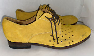 """Paul Smith Women's  """"Men Only"""" Yellow Suede Oxford Shoes Size 38 7.5 Us"""