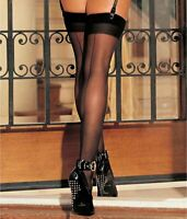 Shirley of Hollywood BLACK Sheer Back Seam Stockings, US One Size