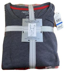 NAUTICA Sleepwear Mens' Xl  Tee/Pant Set NWT $70.00 Gray w/ Red Check