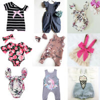 Newborn Baby Kids Girls Outfits Clothes Floral Romper Bodysuit Pants Headband