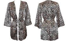 Women Leopard Kimono Robe Babydoll Lingerie Nightwear Chemise and Negligee 8-10