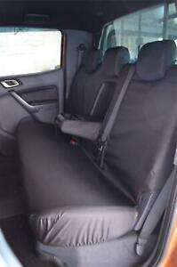 Black Tailored Waterproof Rear Back Seat Cover Custom Fit for Ford Ranger 2012+