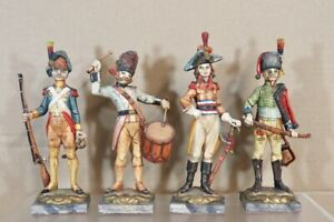 SET of 4 FRENCH NAPOLEONIC IMPERIAL GUARD FIGURES DRUMMER OFFICER HUSSAR nv