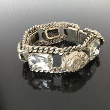 Bracelet Vintage Métal Argenté Maille Gourmette Et Strass Vintage Bangle