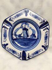 Vintage Delfts  Porcelain Ashtray Hand Painted Blue Windmill