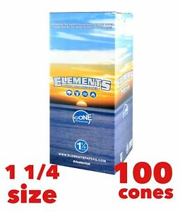 elements rice cone 1 1/4 pre rolled organic cone(100 pack) 100% Authentic