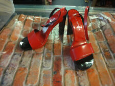 Via Spiga made in Italy red black strapy ankle heels shoes 8.5