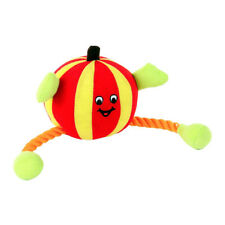 Animate Orange Humbug Ball Rope Dog Toy Squeaker | Plush Medium Tug Stuffed Soft