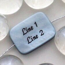 3 - CUSTOM ENGRAVED Mother of Pearl Rectangle Shell Bead - BLUE - 18 x 13 mm