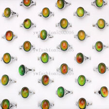us ship Wholesale Lots 40pcs Color Changing Silver Plated Man Woman Mood Rings