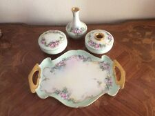 Antique Victorian Limoges Hand Painted Dresser Set & Platter, L327 GIFT IDEA!!