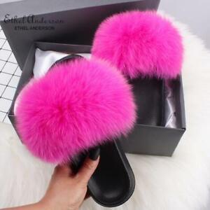 Real Fox Fur Slippers Sandals Designer Slides Chic Women's Flat Shoes