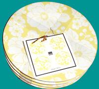 "4 Appetizer Plates - 222 Fifth Megan Yellow Set of 4 ~  6 1/2"" diameter - NEW"